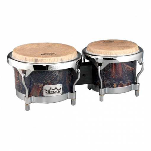 Remo BG-7821-37- Bongo, Drum, Valencia Series, 7/8.5` X 6`, SKYNDEEP® Tucked Drumhead, Calfskin Graphic, Palmilla Finish, Chrome Curved Hoops Ударные инструменты