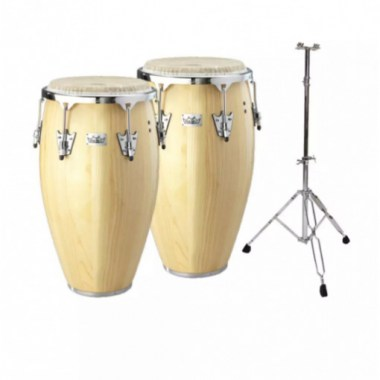 Remo CR-P110-00 10` + 11` Conga Set with 1 Double Stand, Natural Wood Ударные инструменты