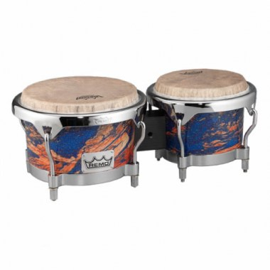 Remo BG-7821-MS- Bongo, Drum, Valencia Series, 7/8.5` X 6`, SKYNDEEP® Tucked Drumhead, Calfskin Graphic, Molten Sea Finish, Chrome Curved Hoops Ударные инструменты