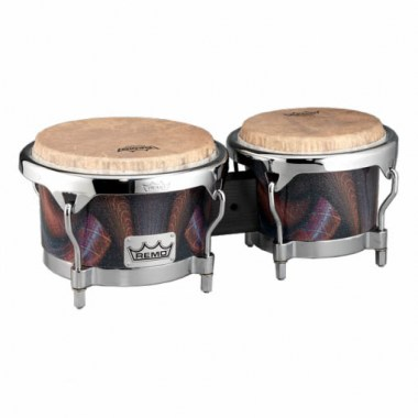 Remo BG-7821-36- Bongo, Drum, Valencia Series, 7/8.5` X 6`, SKYNDEEP® Tucked Drumhead, Calfskin Graphic, Salsa Deco Finish, Chrome Curved Hoops Ударные инструменты
