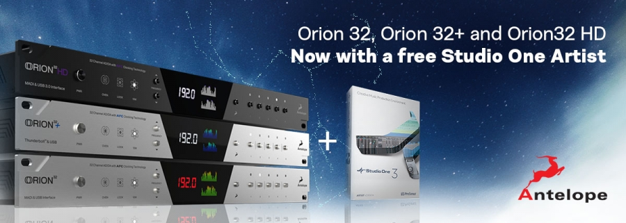 Orion 32, Orion 32+ и Orion32 HD теперь с бесплатной DAW Studio One Artist!